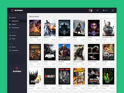 Scrimbox App application web app bangalore profile sidebar blue dark gaming dashboard