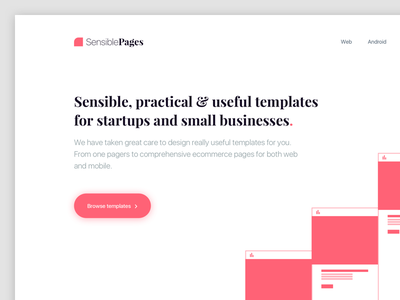 Sensible Pages(WIP) ios android web themes landing page template