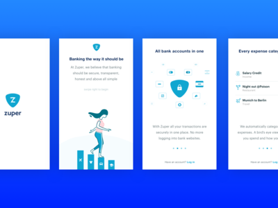 Zuper Ios App onboarding accounts finance fintech banking ios