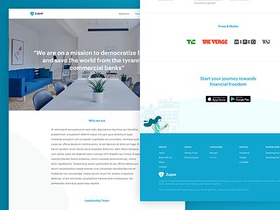 Zuper Team Page footer about fintech team
