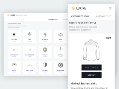 Luxire Customization store men shirts bespoke clothing ecommerce trousers
