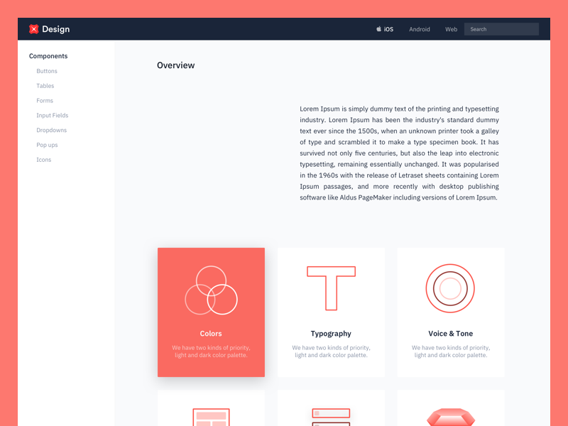 Design Language System (WIP) sketch library typography colours voice and tone sidebar cards overview welcome web mobile design system dls