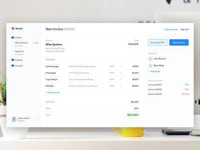 Kenobi Dashboard dashboard invoice