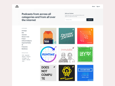 Layer.Fm development design layout categories tags cards podcast singapore landing page minimal