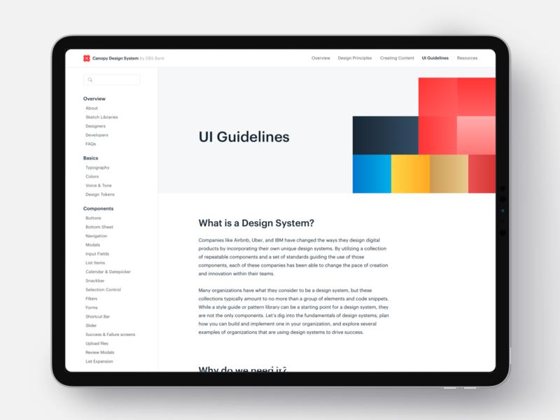 Design System ipadpro ipad article bank singapore ui kit guidelines pattern sidebar dls design system