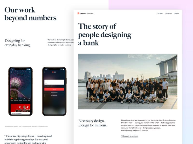 Design at DBS Bank keyframes html css people website design about website team singapore branding landing page minimal