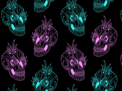 💀 flames pattern pink blue ipad procreate illustration skull