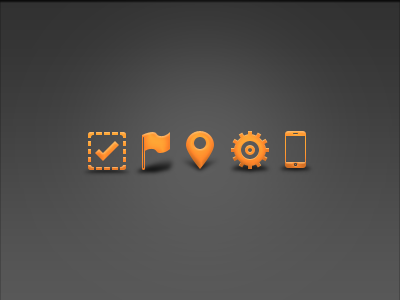 friday icons icons approve flag location settings sms text orange glyphs gradient shadow iphone ui web software