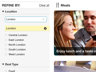 Refine refine filter search checkboxes open close clear meals headings rounded cross ui interface