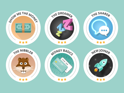 Badges badges icons stars earn character