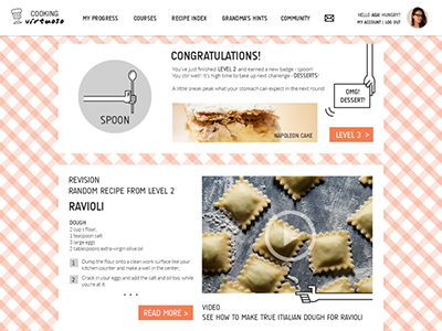 Cooking Virtuoso 2 kitchen cooking orange white simple icons hands cooking virtuoso landing page