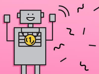 Robots' Olympics robotics happy robot fun simple grey pink flat vector medal sport robot