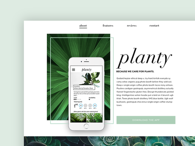 Planty - landing page minimalistic clear pastel landing page eco green flower floral plant