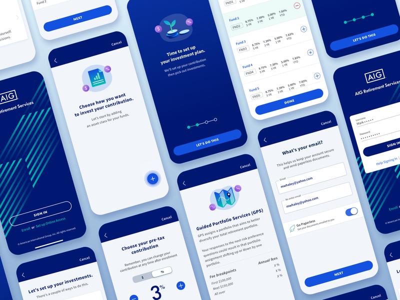 Enrollment mobile fintech app enrollment android ios mobile app fintech cards ui allocation digital illustration finance