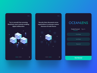 Mobile Onboarding Flow isometric shipping management illustration blockchain mobile app digital illustration