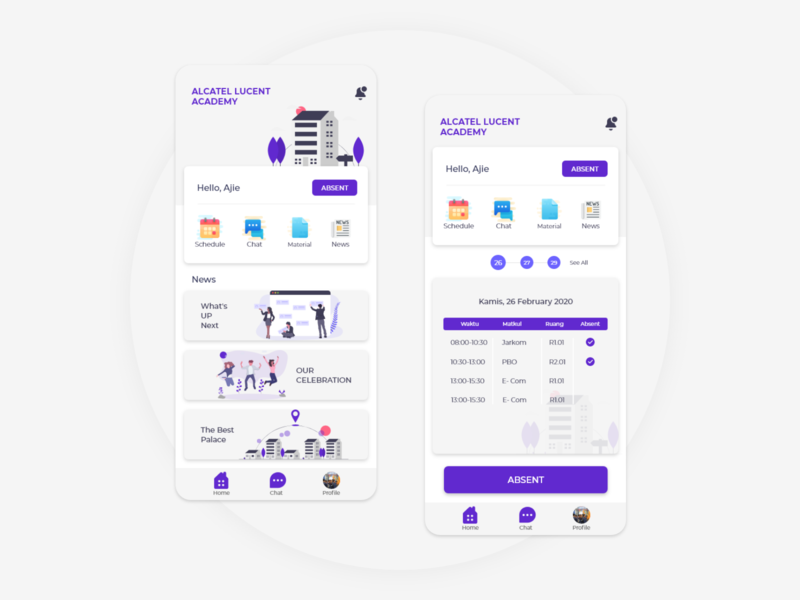 Alcatel Lucent Academy class mobile purple ui  ux education app