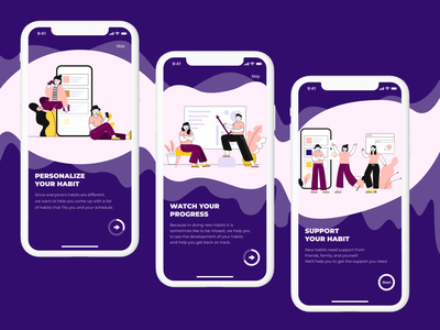 Habit Tracker On-Boarding UI Design 10ddc habit habit tracker mobile app design mobile ui mobile walkthrough screen onboarding ui inspiration ui design illustration uiux ux ui inspiration