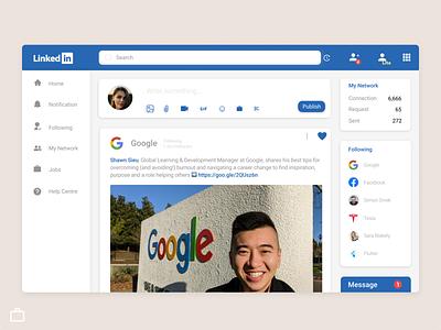 Linkedin dashboard redesigning website concept website design redesign blue and white job site job portal linkedin