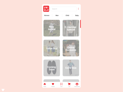 Redesign of Uniqlo Application red application fashion app ecommerce uniqlo app design grey branding logo
