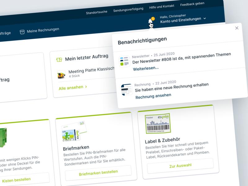 💚Dashboard Detail View for PIN Mail notification dropdown webapp webapplication interface design app dashboard