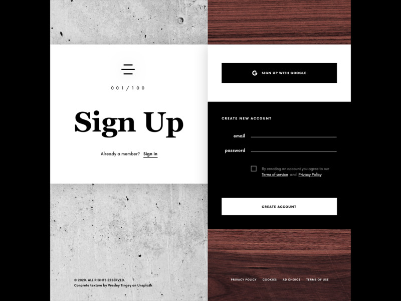 Daily UI 001 - Sign Up sign in sign in ui signin signup sign up ui uidesign uxdesign userinterface daily ui daily ui 001 dailyui 001 dailyui 100daychallenge