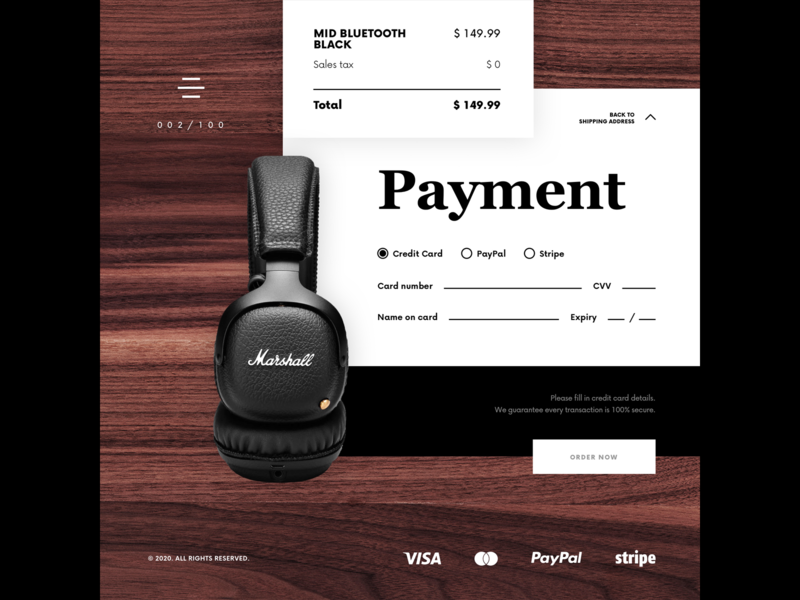 Daily UI 002 - Credit Card Details headphones marshall dailyui 002 dailyui ui uiux uidesign uiuxdesign uxdesign userinterface interface daily ui 002 daily ui 100daychallenge 100 day challenge 100 day project