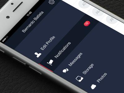Drawer menu material flat badges badge listview icons mobile drawer