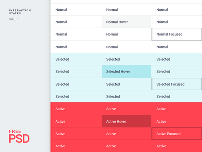 Interaction States - Free PSD focused selected active hover psd free interaction states