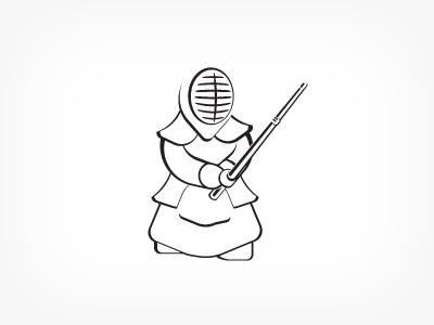 Kendōka outline kendoka warrior mascot kendo