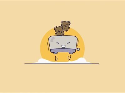 Vector illustration toaster design yellow bread food cartoon toaster vector illustration vector