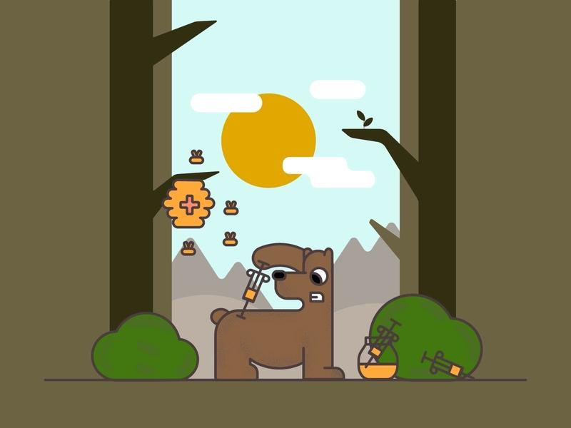 Simple vector illustration Bear and Honey trendy green logo simple forest honey bees bear cartoon illustration vector
