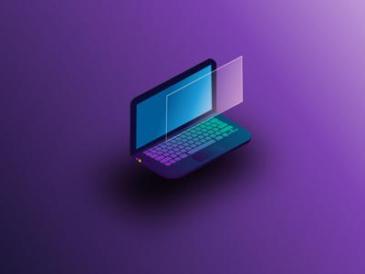Isometric computer (graphic design) graphicdesign trendy trend purple cartoon laptop isometry isometric computer illustration vector