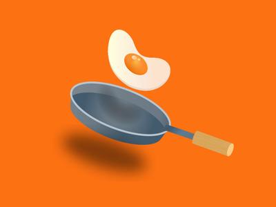 Fried egg on a frying pan shadow cartoon food friedegg orange pan egg graphicillustration graphic design graphic design vector illustration