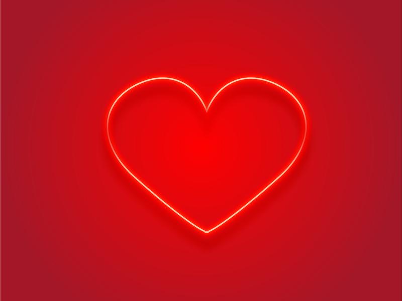 Neon heart minimalism trendy redheart heart neon logo cartoon vector illustration graphicdesign