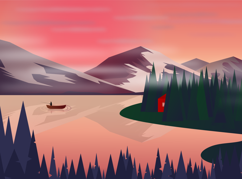 Mountains early morning fishman tree water house woods boat mountains graphic logo graphicdesign illustration vector cartoon