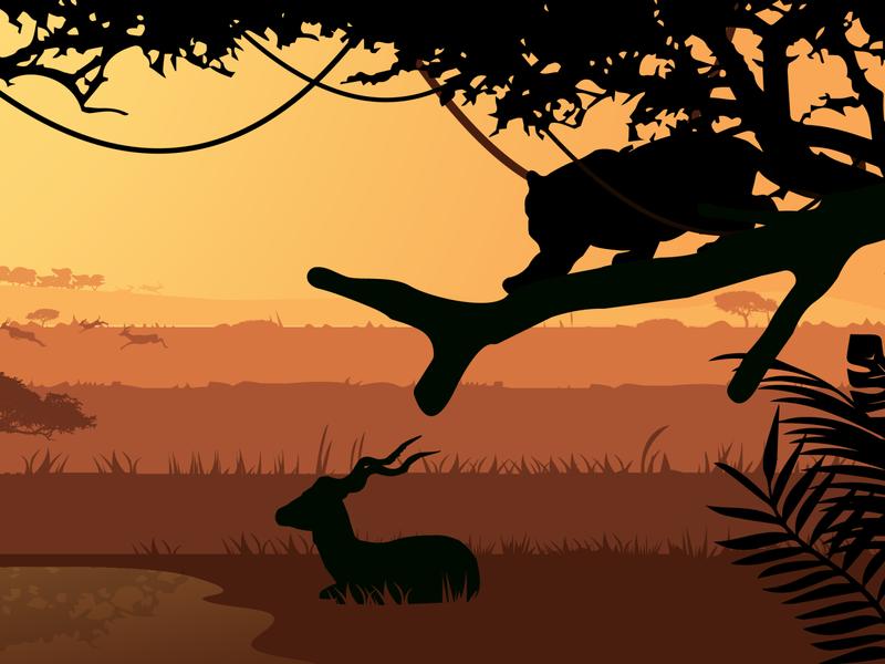 Jungle shade shadow shade sunset deers antelope tiger jungles trendy logo graphic design vector illustration graphicdesign cartoon