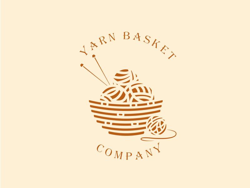 Minimalistic logo beige company basket yarn trendy vector illustration graphicdesign logo design logo