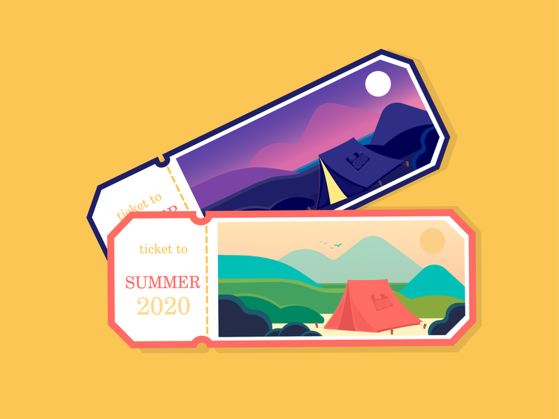 Summer tickets day night 2020 camping camp summertime animation mobile product designs print typogaphy ticket trendy logo design graphic graphicdesign vector illustration