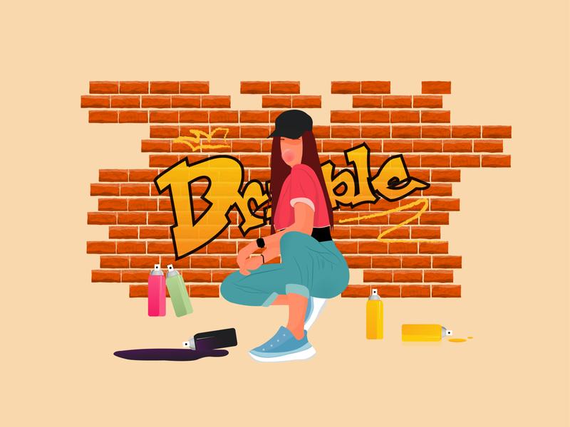 Street art graphic design logo trendy graffiti bricks girl dribble vector graphicdesign illustration