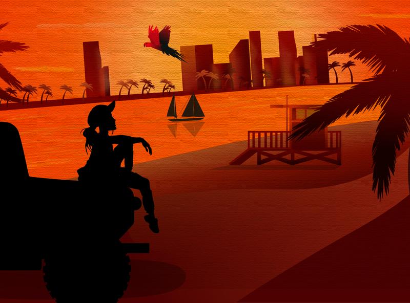 Tropical sunset landscape langscape tropical tropics textured texture trendy logo boat ocean palms parrot girl car sunset graphicdesign vector illustration