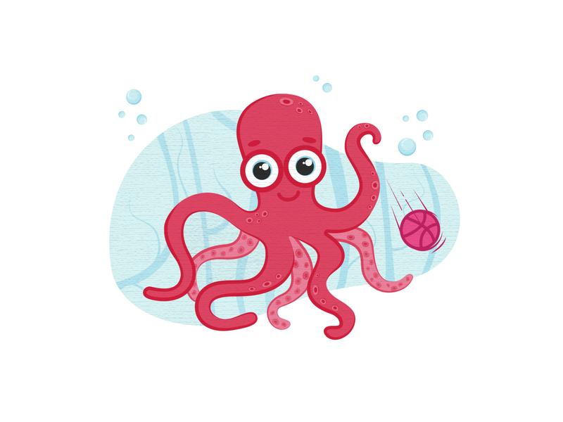 Octopus sticker logo cartoon trendy trend 2d icon sticker water texture dribble digitalillustration digitalart octopus art graphicdesign illustration