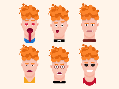 Emotions flat design boy man person vampire cartoon flatdesign flat characterdesign art character emotions logo vector graphicdesign illustration