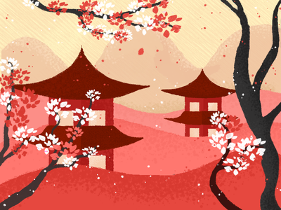 Japan landscape house mountains ps texture flat trendy cartoon graphicdesign illustration art trees sakura tokyo japan scenery landscape