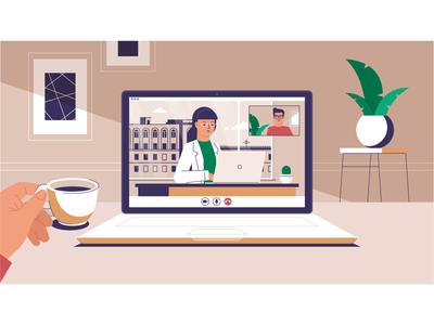Ilustrations for animation computer credit kitchen home bank street woman man digital design illustration vector