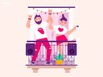 Stay home. Part 1 people cat quarantine digital art hobby music balcony home woman man funny character vector illustration