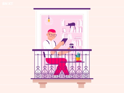 Stay home hipster dog home flowers life quarantine epidemic balcony woman coffee animals pet man cute cat design character funny illustration vector