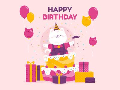 Happy birthday balloon cake postcard happy birthday pet cute cat character funny illustration vector