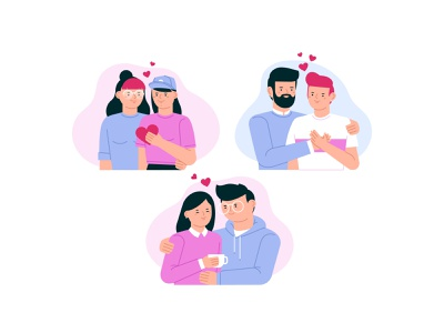 Love is love tolerance people queer lesbian gay lgbt men women woman stickers man cute character funny illustration vector