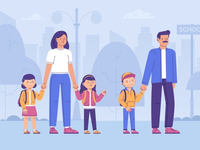 Children back to school kids back man woman mother father girl boy children school character funny illustration vector
