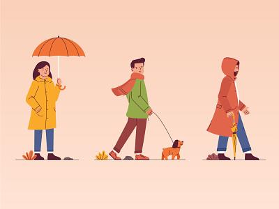 Autumn rain walk autumn dog woman man girl boy character illustration vector